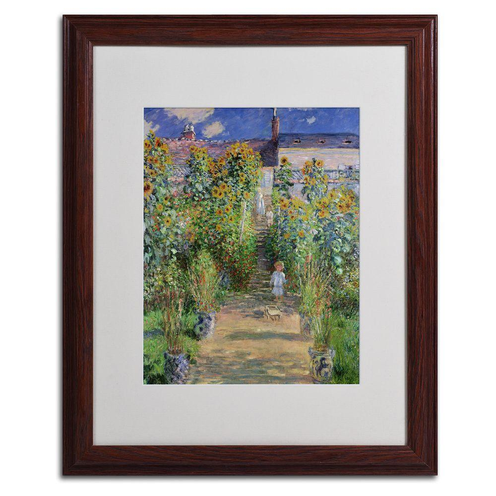 Trademark Fine Art 16 in. x 20 in. The Artist's Garden at Vetheuil Matted Brown Framed Wall Art