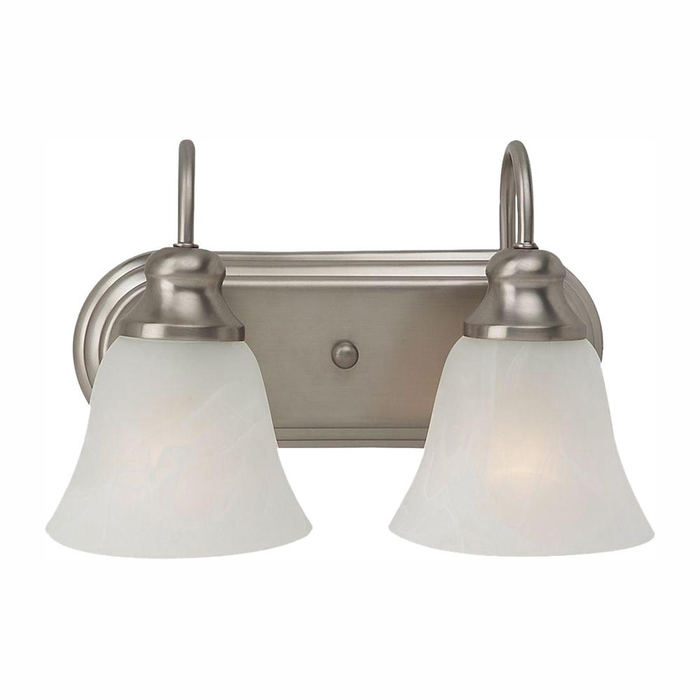 Sea Gull Lighting Windgate 12.5 in. W 2-Light Brushed Nickel Vanity Light with Alabaster Glass