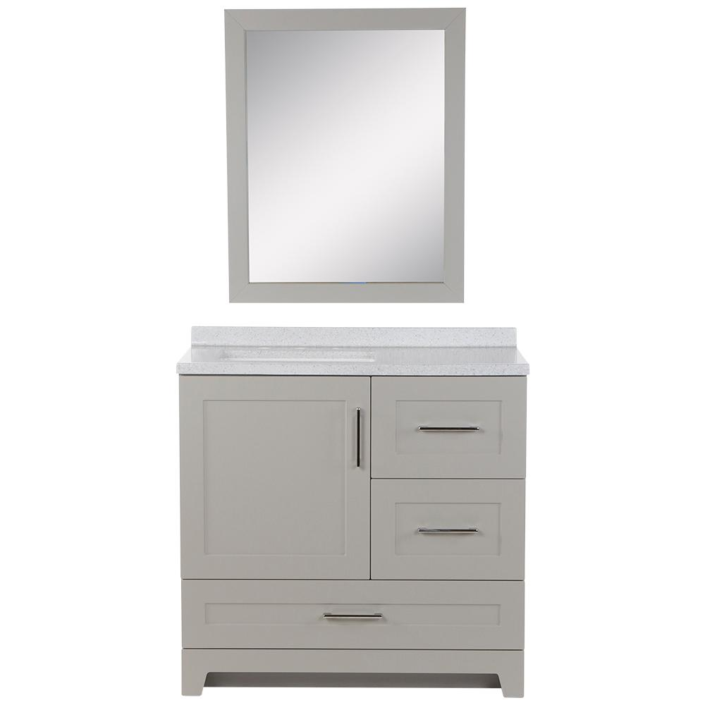 Home Decorators Collection Dorston 36.5 in. W Bath Vanity in Gray with Solid Surface Vanity Top in Polar Gray with White Basin and Mirror