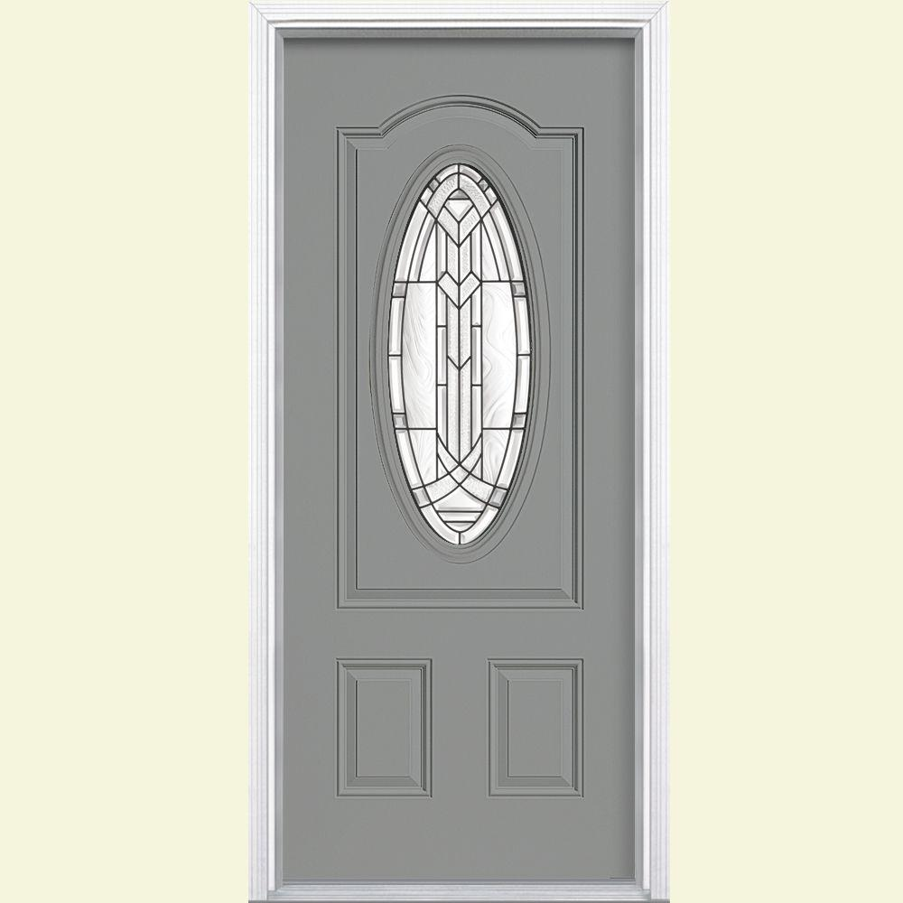 Masonite 36 in. x 80 in. Chatham 3/4 Oval Left Hand Inswing Painted Smooth Fiberglass Prehung Front Door w/ Brickmold