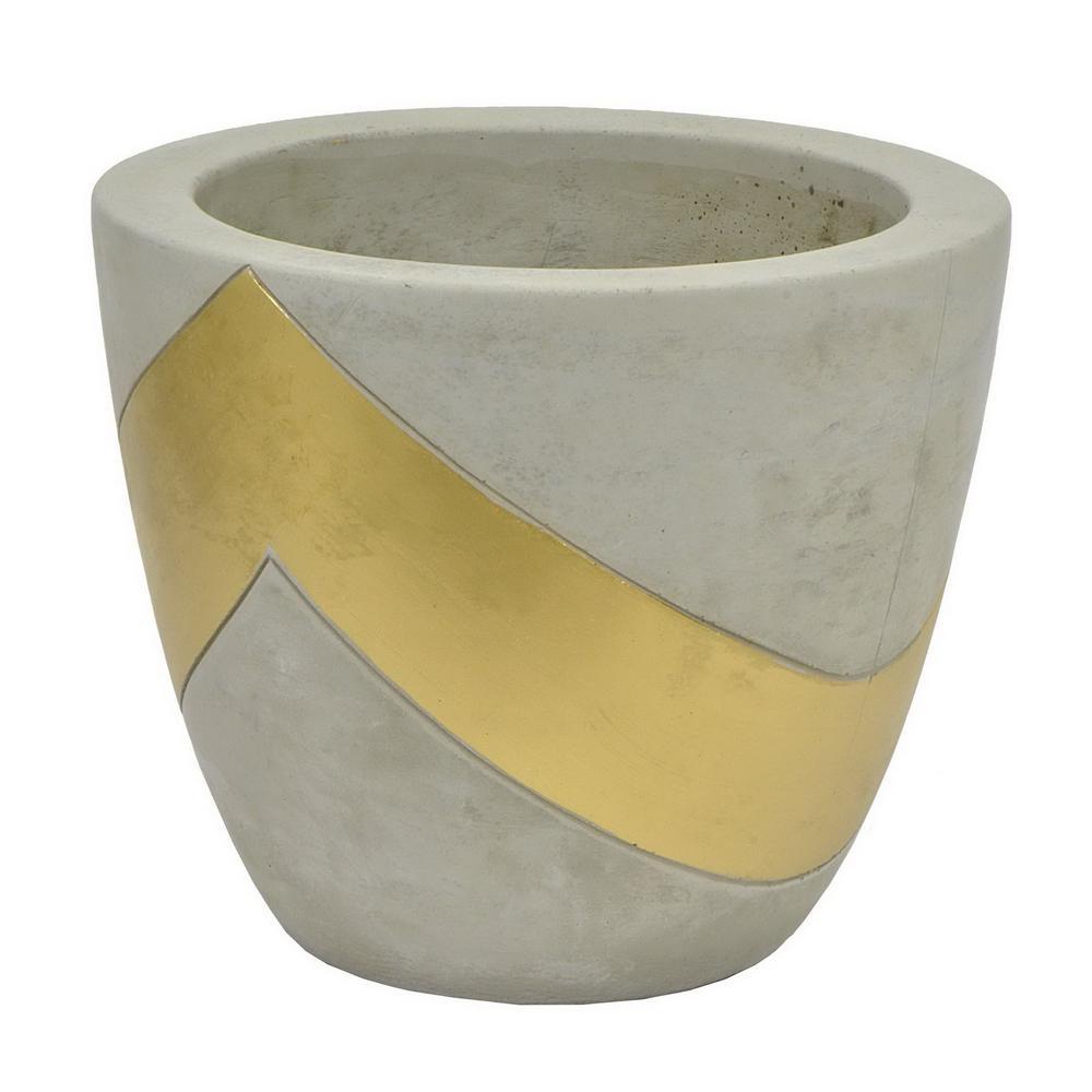 Grey/Gold Clay Planter