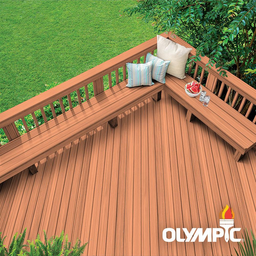 Olympic Maximum 1 gal. Redwood Semi-Transparent Exterior ...