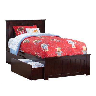 Nantucket Espresso Twin Platform Bed With Matching Foot Board And 2 Urban Drawers