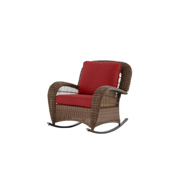 Beacon Park Brown Wicker Outdoor Patio Rocking Chair with CushionGuard Chili Red Cushions