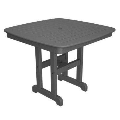 Nautical 37 in. Slate Grey Plastic Outdoor Patio Dining Table