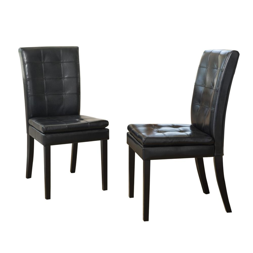 Noble House Crayton Black Leather Tufted Dining Chair Set