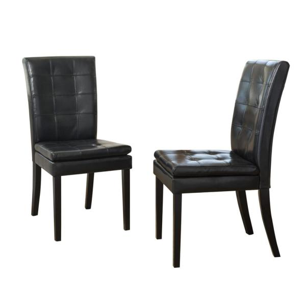 Crayton Black Leather Tufted Dining Chair (Set of 2)