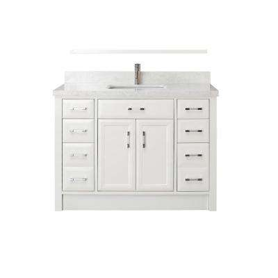 Calais 48 in. W x 22 in. D Vanity in White with Engineered Marble Vanity Top in White with White Basin