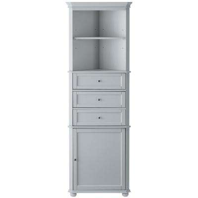 Hampton Harbor 23 in. W x 13 in. D x 67-1/2 in. H Corner Linen Storage Cabinet in Dove Grey