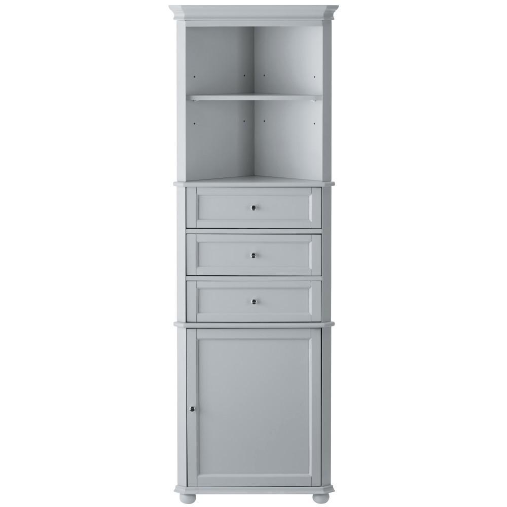 Hampton Harbor 23 in. W x 13 in. D x 67-1/2 in. H Corner Linen Storage Cabinet in Dove Grey