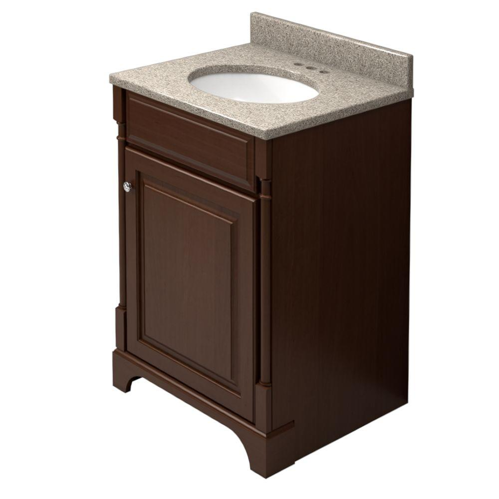 KraftMaid 24 in. Vanity in Autumn Blush with Natural Quartz Vanity Top in Burnt Terra and White Sink-DISCONTINUED