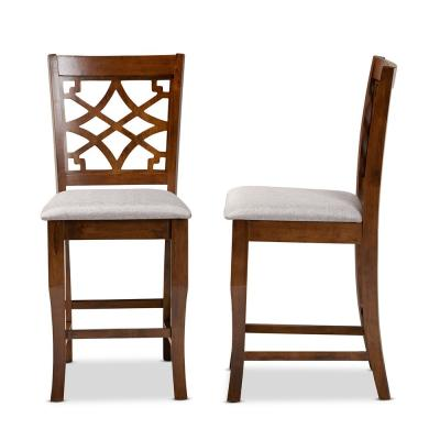 Nisa 42.5 .in Grey and Walnut Brown Low Back Wood 25 in. Counter Stool (Set of 2)