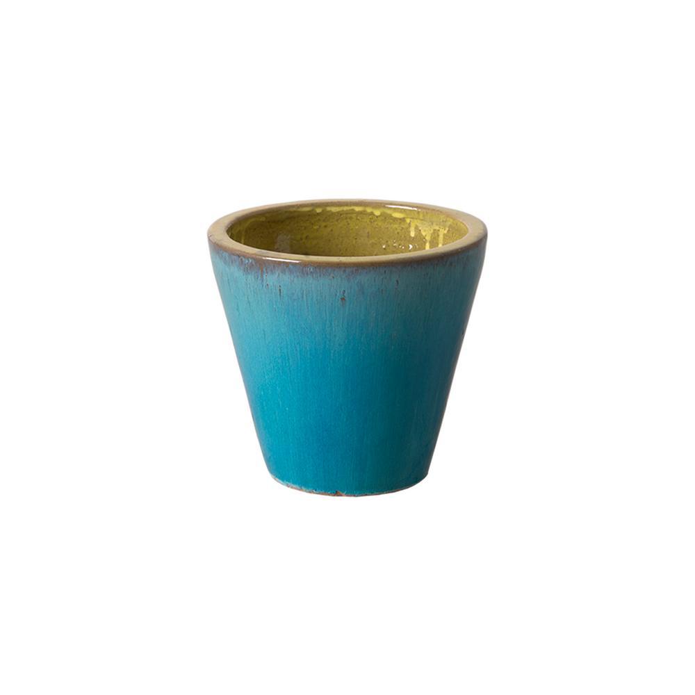 Emissary 9.5 in. Dia Round Turquoise Ceramic Cone Planter