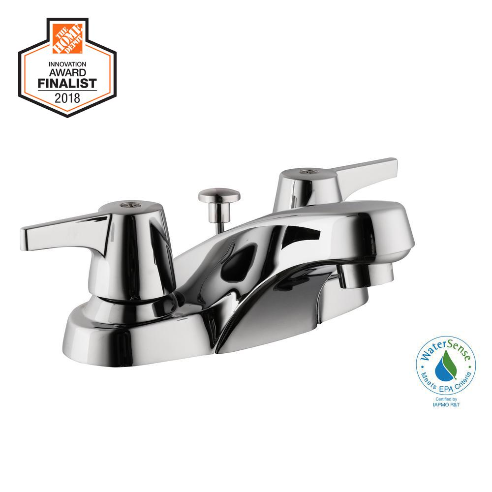 Glacier Bay Aragon 4 in. Centerset 2-Handle Low-Arc Bathroom Faucet with Pop-Up Drain in Chrome