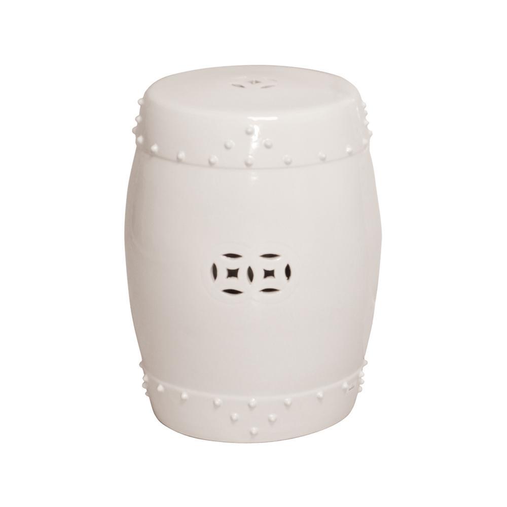 White Drum Ceramic Garden Stool