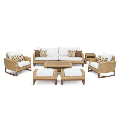 Mili 8-Piece Wicker Patio Deep Seating Conversation Set with Sunbrella Moroccan Cream Cushions