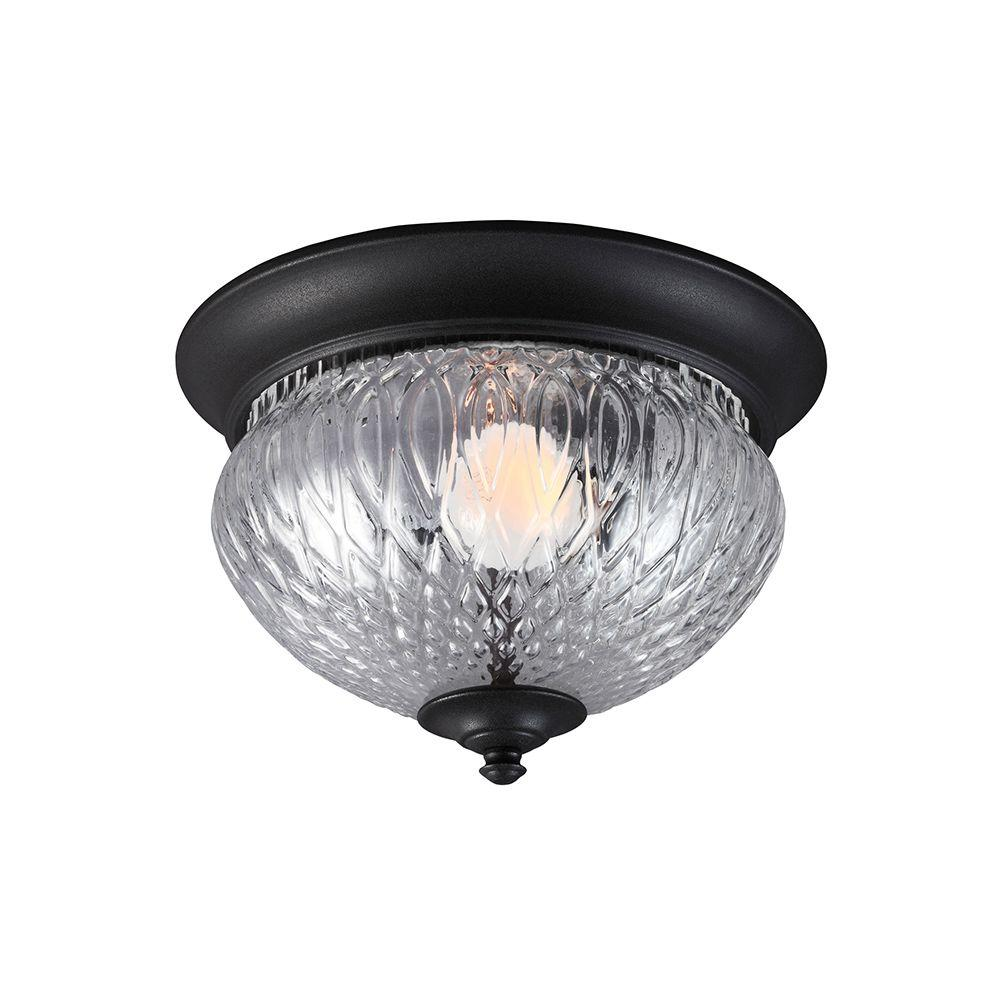 Sea Gull Lighting Garfield Park 1-Light Outdoor Black Fluorescent Ceiling Flushmount with Clear Glass