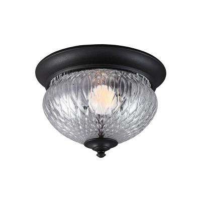 Garfield Park 1-Light Outdoor Black Fluorescent Ceiling Flushmount with Clear Glass