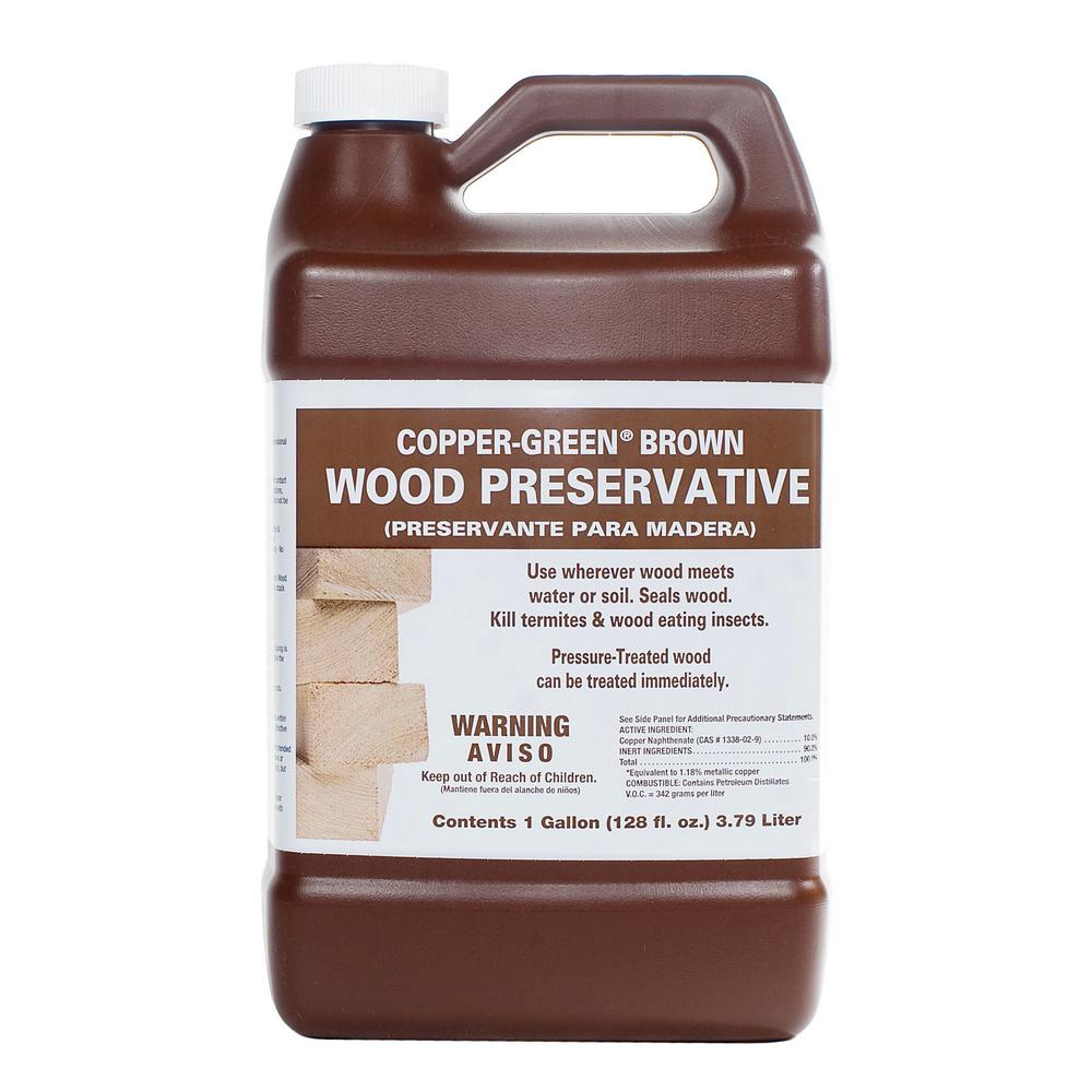 Copper Green 1 Gal Brown Wood Preservative Cb 1 The Home Depot