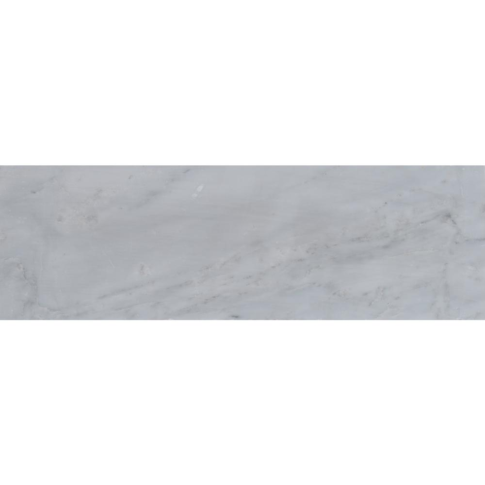 MS International Greecian White 4 in. x 12 in. Polished Marble Base Board Wall Tile