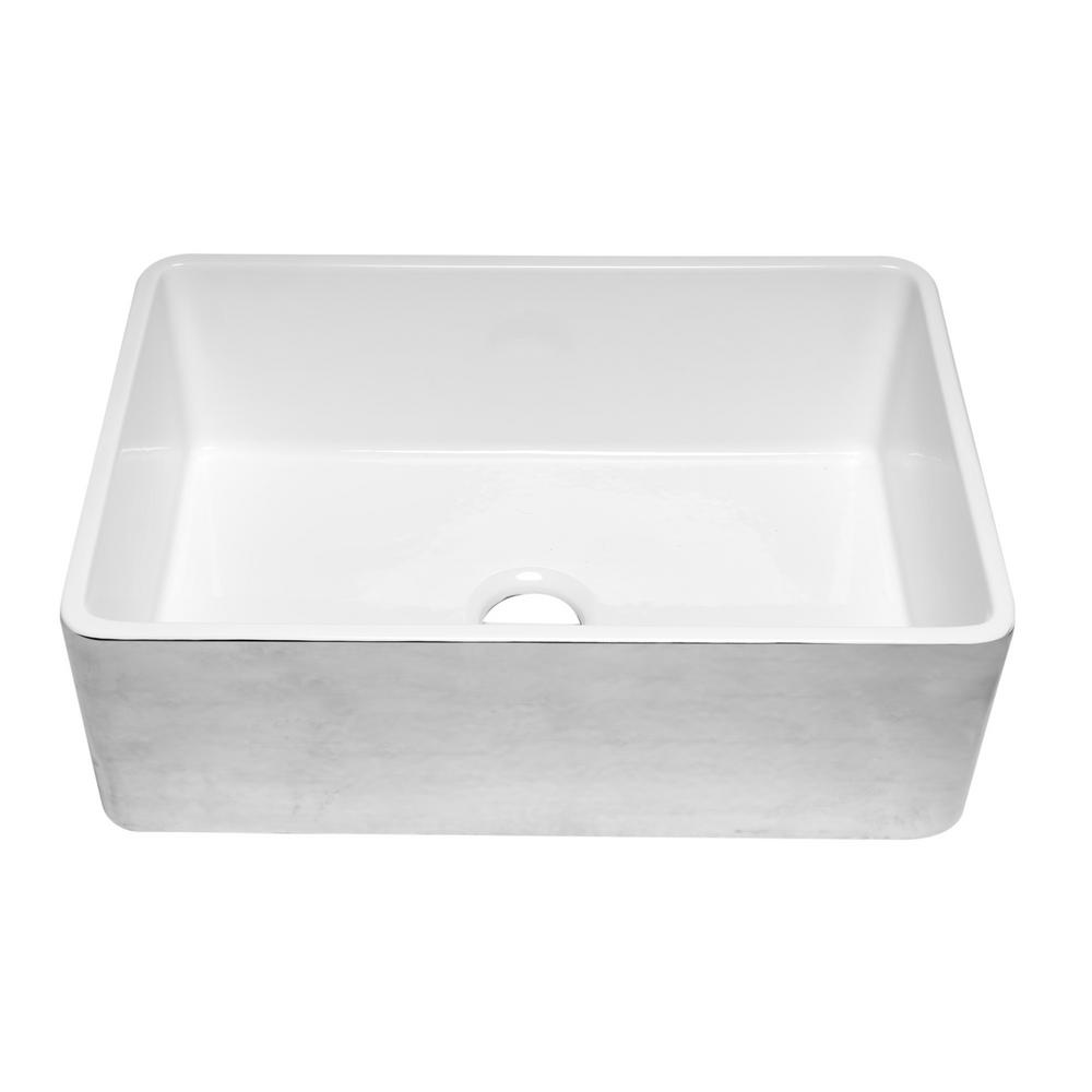 Alfi Brand Farmhouse Fireclay 30 In Single Bowl Kitchen Sink Hammered Platinum