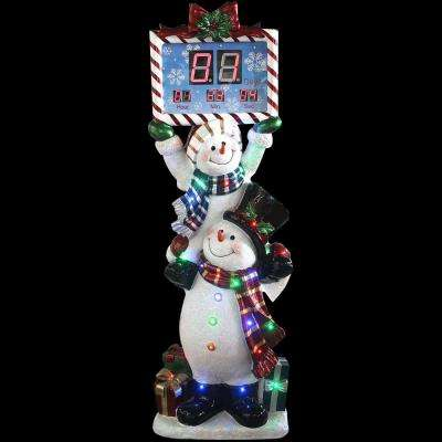 5 ft. LED Christmas Stacking Snowman Pair with Musical Countdown Clock