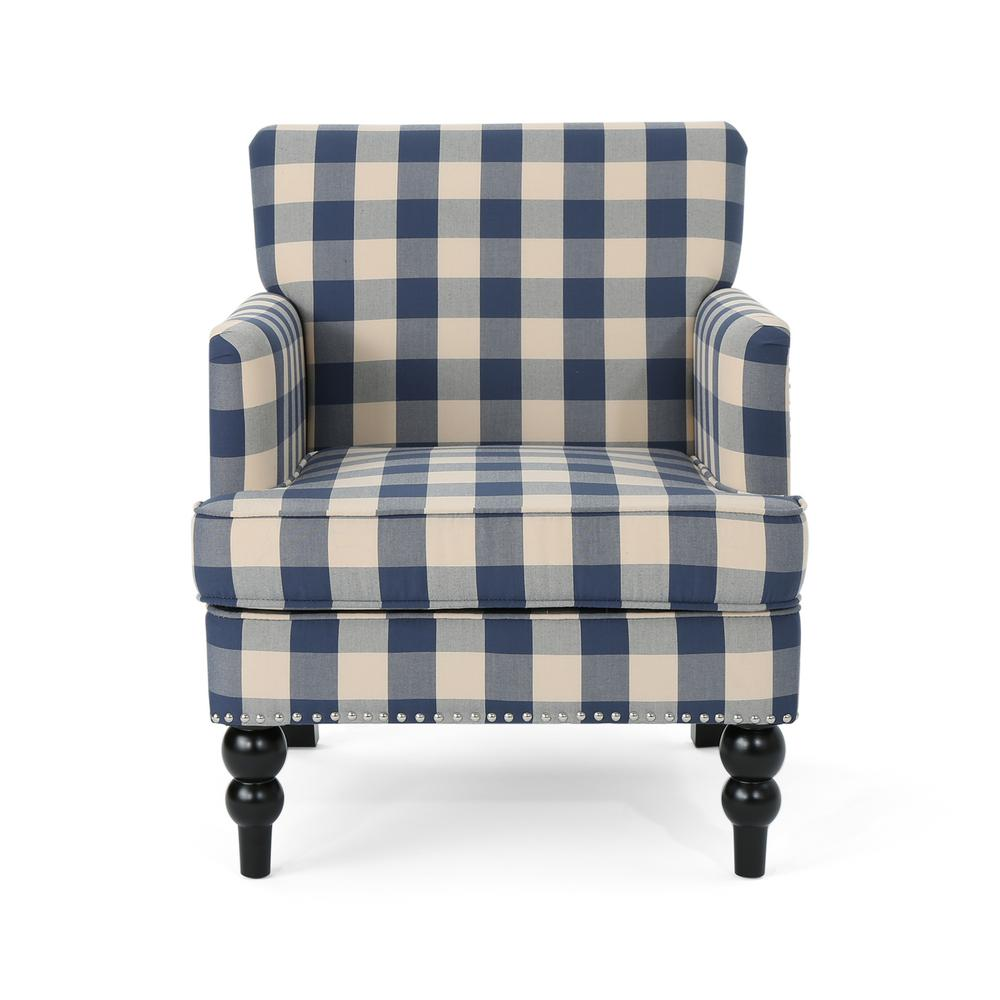 Noble House Harrison Blue Checkerboard Fabric Club Chair with Stud Accents