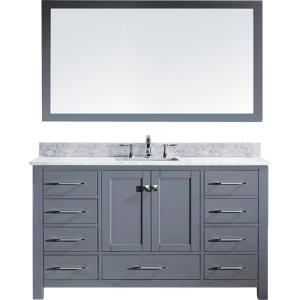 Virtu USA Caroline 60 inch W x 36 inch H Vanity in Gray Finish with Marble Vanity Top in White with White Square Basin... by Virtu USA