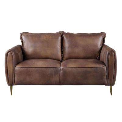 Burgess Vintage Chocolate Top Grain Leather Loveseat