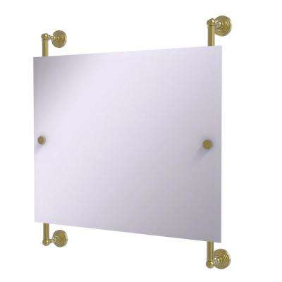 Waverly Place Landscape 26 in. x 29 in. Rectangular Frameless Rail Mounted Mirror in Satin Brass