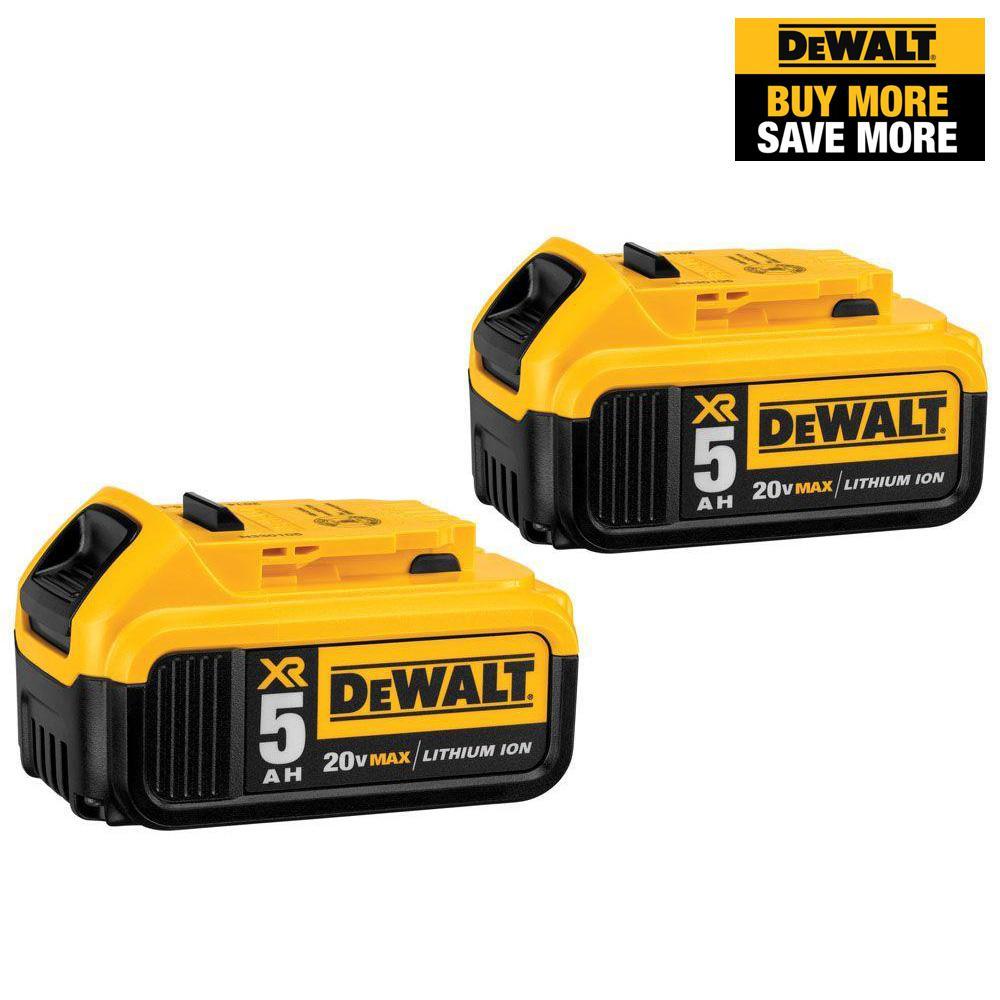 20-Volt MAX XR Premium Lithium-Ion 5.0Ah Battery Pack (2-Pack)