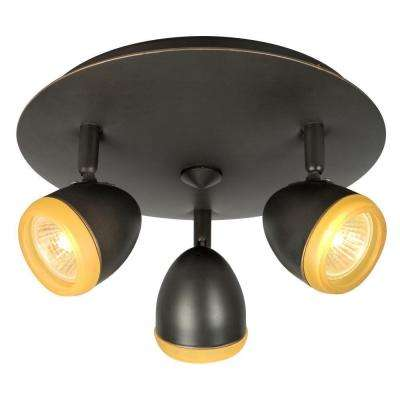 Negron 3-Light Dark Brown Copper Track Head Spotlight with Directional Heads