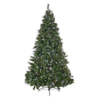 7 ft. Unlit Mixed Spruce Hinged Artificial Christmas Tree with Frosted Branches, Berries and Pinecones