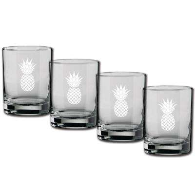 Kasualware Pineapple 14 oz. Double Old Fashioned Glass (Set of 4)