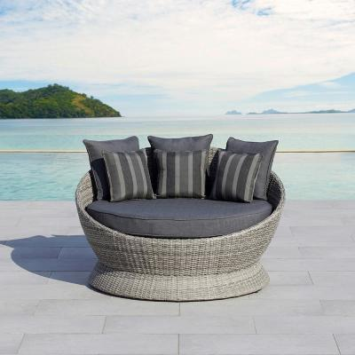 Brisbane Gray Wicker Outdoor Day Bed With Gray Cushion