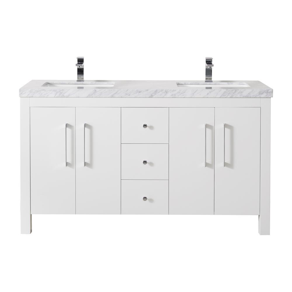 Adler 60 in. Bath Vanity in White with White Marble Vanity Top in White with White Basin
