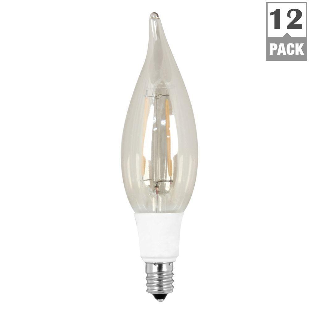 40W Equivalent Soft White (2200K) CA10 Candelabra Base Dimmable LED Vintage Style Light Bulb (Case of 12)