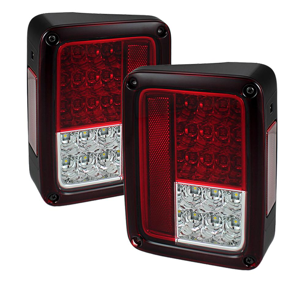 Jeep Wrangler Led Tail Lights >> Spyder Auto Jeep Wrangler Jk Jku 07 18 Led Tail Lights Red Clear