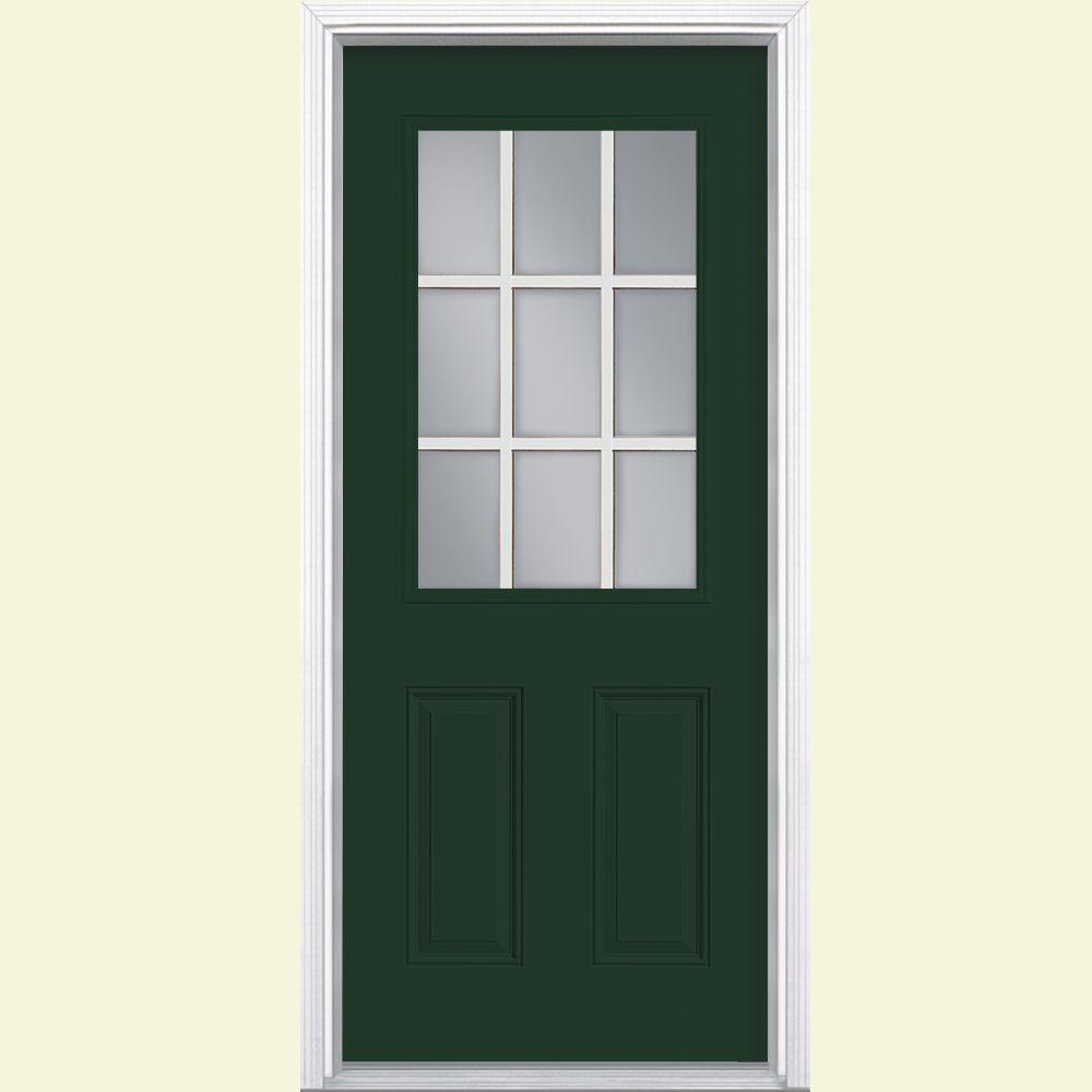 High Quality Masonite 32 In. X 80 In. 9 Lite Right Hand Inswing Painted Steel Prehung Front  Door With Brickmold 29487   The Home Depot