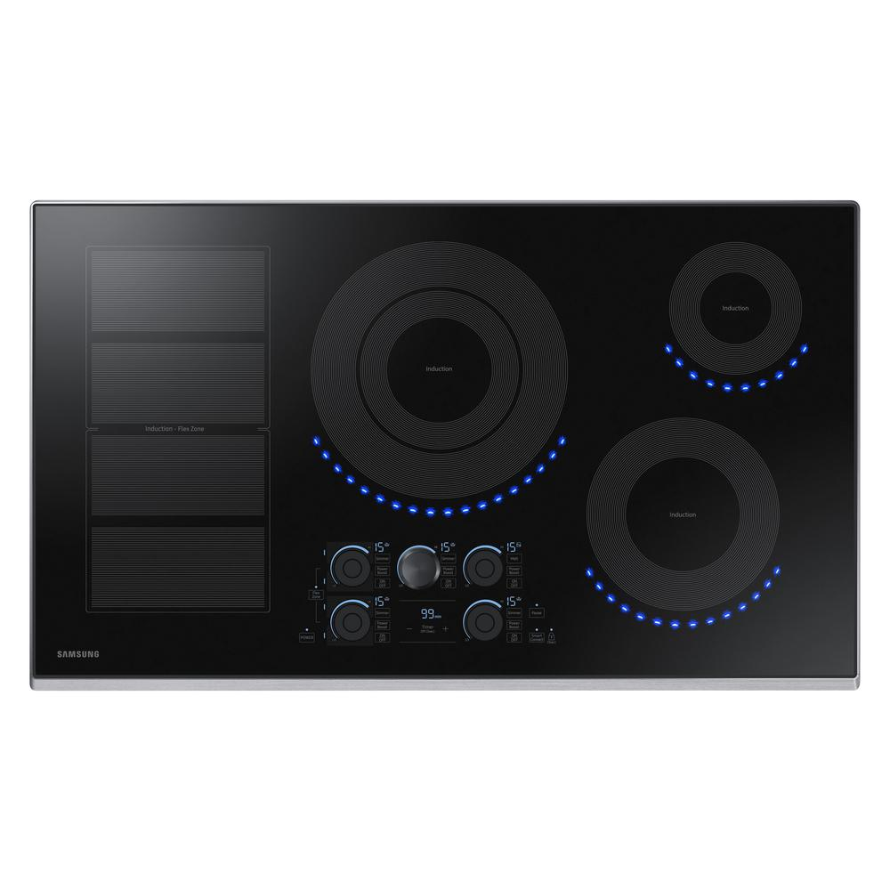Samsung 36 in. Induction Cooktop with Stainless Steel Trim with 5 Elements and Flex Zone Element