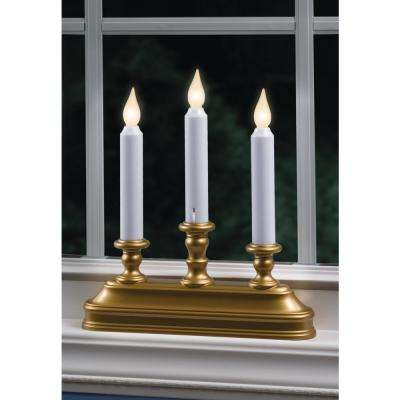 10.25 in. Warm White LED Battery Operated Candle with Antique Brass  Candelabra