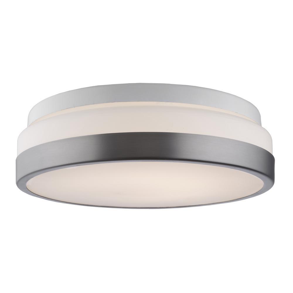 LED Flush Mount Collection 1-Light Brushed Nickel Flush Mount