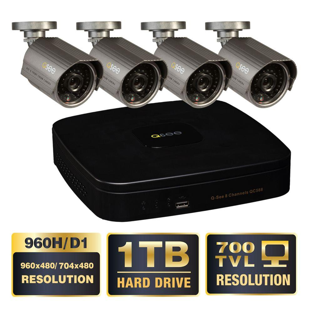 Q-SEE Premium Series 8-Channel 960H 1TB Video Surveillance System (4) Hi-Res 700 TVL Cameras 100 ft. Night Vision-DISCONTINUED