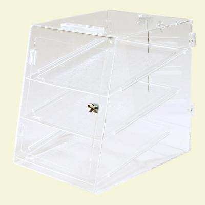 Fully Assembled Clear 3 Tray Self Service Pastry Display Case, Front and Back Door