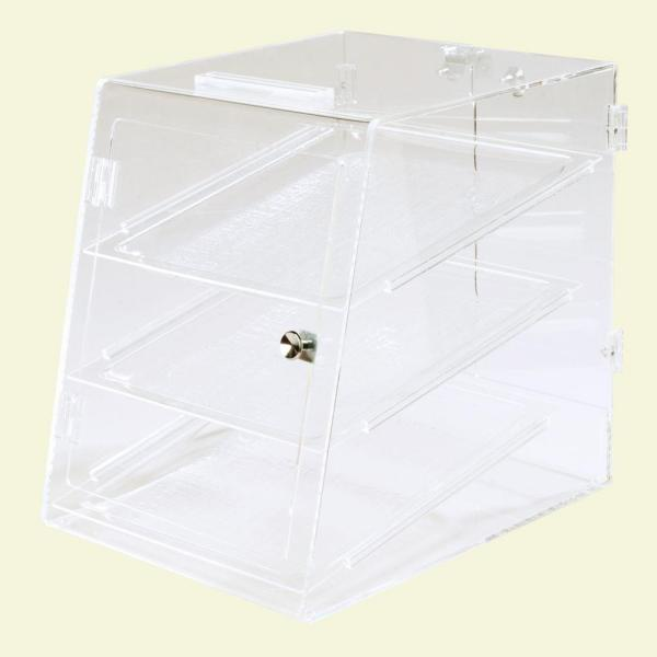 Carlisle Fully Assembled Clear 3 Tray Self Service Pastry Display Case, Front and Back Door
