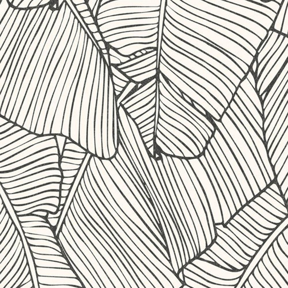 Walls Republic Leaf Outline Abstract White And Black
