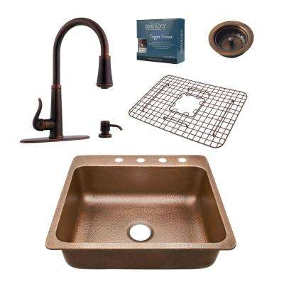 Rosa All-in-One Drop-In Copper 25 in. 4-Hole Single Bowl Kitchen Sink with Pfister Ashfield Faucet and Drain in Bronze
