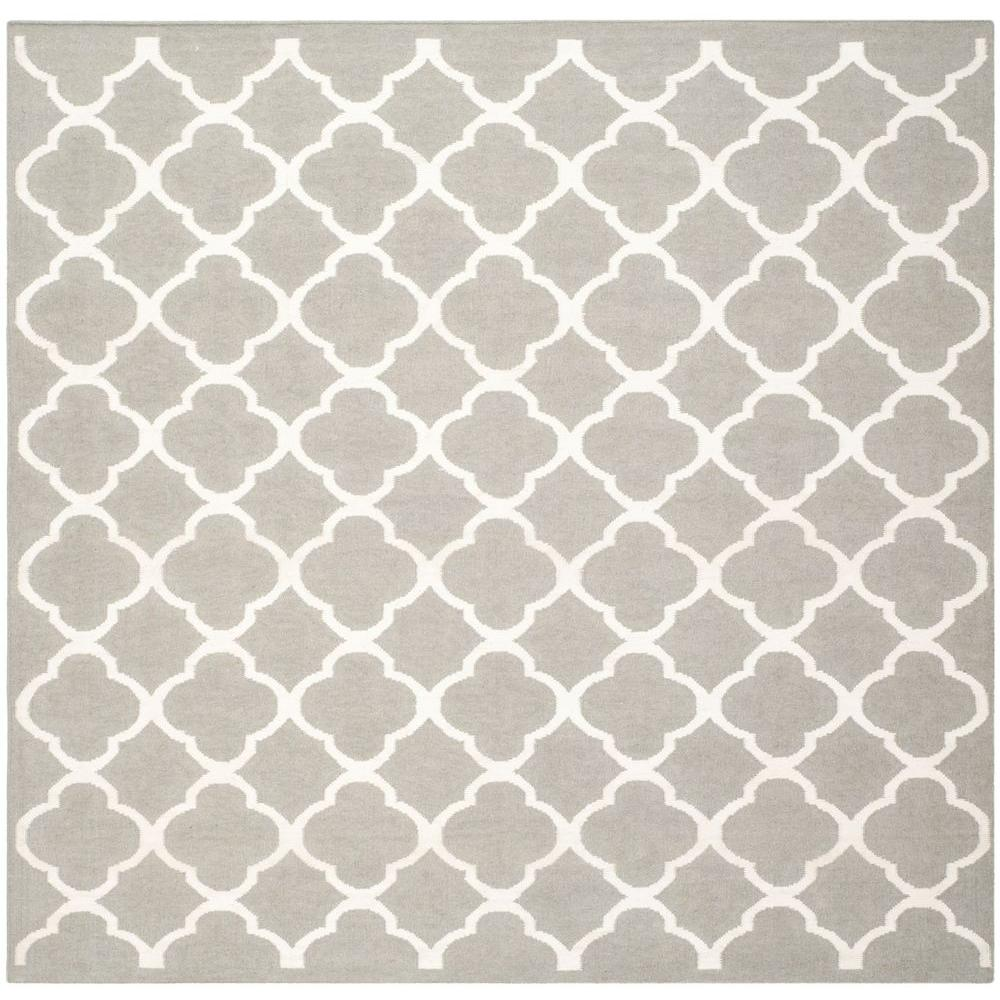 Dhurries Grey/Ivory 7 ft. x 7 ft. Square Area Rug