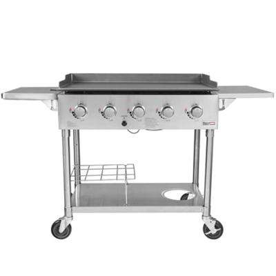 5- Burner Propane Gas Grill Griddle in Stainless Steel with Folding Side Tables