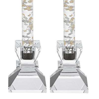 Saturn Pair of 2.75 in. Crystal Candle Holders